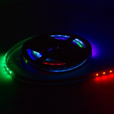 Світлодіодна стрічка RGB SMD5050, WS2812B (з управлінням, чорна,  IP67, 5 В, 60 діодів/м, 1 м) - Перегляд 2